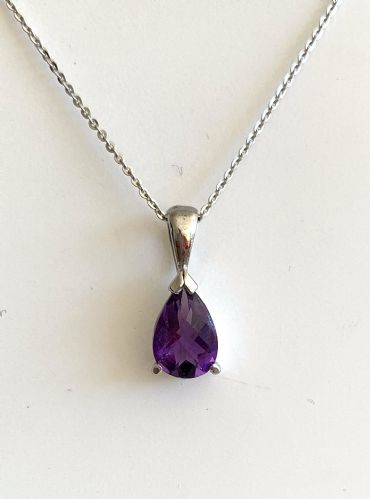 Pear Shaped Purple Amethyst White Gold Necklace J40-9377-16W